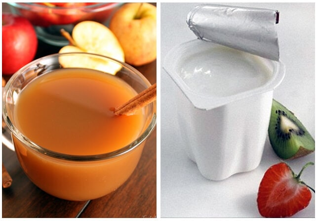 A glass of apple juice (left) contains almost seven teaspoons of sugar, and the average fat-free yogurt (right) contains five. The World Health Organisation recommends no more than six teaspoons of sugar a day